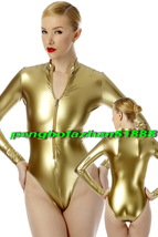 Sexy Short Body Suit Catsuit Shiny Gold Metallic Long Sleeves Costumes S666 - $32.99