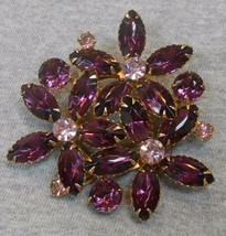 VINTAGE Purple Rhinestone THREE FLOWERS Brooch/Pin - $23.75