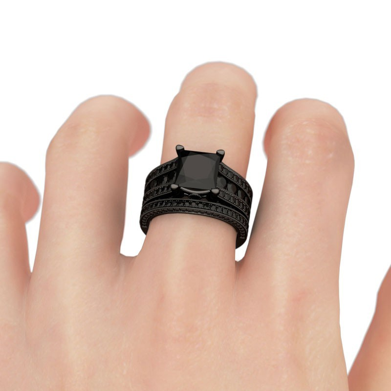 14k Black Gold Plated 925 Silver Princess Cut Black CZ Women's Wedding Ring Set