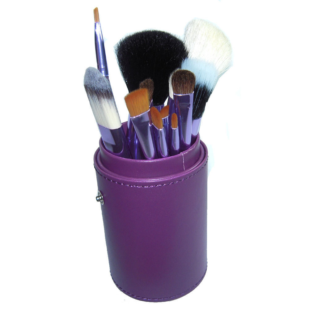 Primary image for 12 PCS Makeup Brush Cosmetic Brushes Tool Set Kit with Cup Holder Case Purple