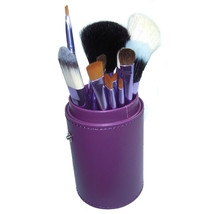 12 PCS Makeup Brush Cosmetic Brushes Tool Set Kit with Cup Holder Case Purple - $13.71