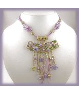 Amethyst Color Pendant Necklace Earring Set Gold Tone Setting, beaded drops - $34.99