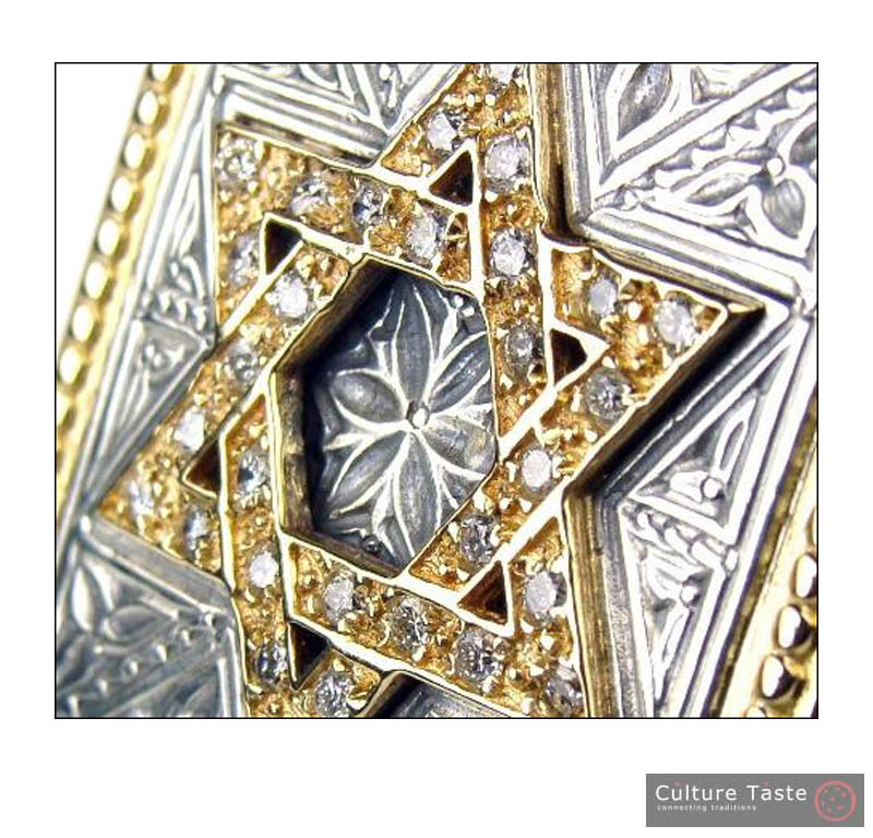 Gerochristo 2524 -Gold, Silver & Diamonds - Star of David - Large Ring / size 7
