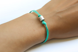 Zodiac signs bracelet, cancer sign, turquoise cord with silver sign char... - £7.49 GBP