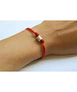 Zodiac signs bracelet, Libra sign, red cord with silver sign charm, red ... - $224,36 MXN