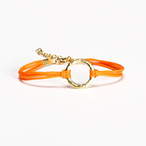 Karma bracelet, orange cord bracelet with a gold circle charm, mother's ... - $11.00