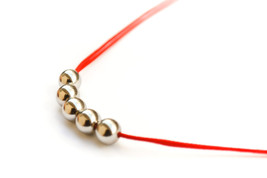 Beaded necklace, metal beads necklace, simple s... - $13.00