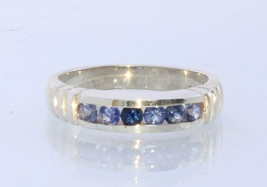 Blue Sapphire Handmade Sterling Silver Unisex Channel Set Ring #1504 Size 7 - £60.66 GBP