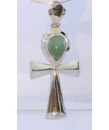 Blue Opal Handmade Egyptian Ankh Cross Sterling Silver Unisex Pendant #1532 - $94.05