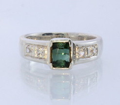 Green Tourmaline White Topaz Handmade 925 Sterling Unisex Ring #1503 Size 6.75 - £53.41 GBP