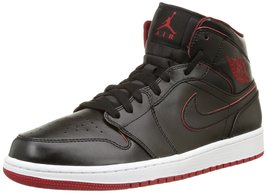 Nike Jordan Mens Air Jordan 1 Mid Black/Black/White/Gym Red Basketball (... - $108.85