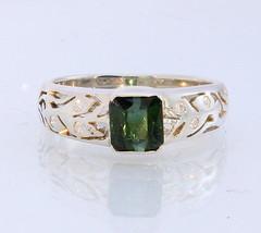 Green Tourmaline White Sapphire Handmade 925 Silver Gents Ring #1517 Siz... - £79.74 GBP