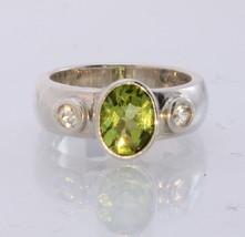 Green Peridot White Zircon Handmade Sterling Silver Unisex Ring #1518 Si... - £64.06 GBP
