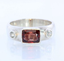 Burmese Red Spinel and Blue Zircon Handmade Silver Unisex Ring #1522 Size 10.75 - £96.96 GBP