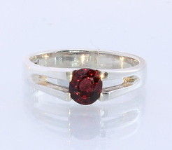 Dark Red Spinel Handmade Sterling Silver Solitaire Unisex Ring #1526 Size 8 - £64.15 GBP