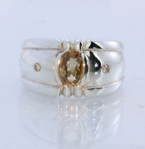 Golden Zircon with Yellow Diamond Handmade 925 Silver Gents Ring #1530 Size 11 - £84.51 GBP