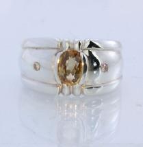 Golden Zircon with Yellow Diamond Handmade 925 Silver Gents Ring #1530 S... - £85.19 GBP