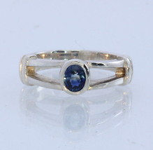 Natural Deep Blue Sapphire Handmade Sterling Silver Ladies Ring #1531 Size 5.5 - £46.65 GBP
