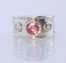 Pink Spinel White Zircon Handmade Sterling Silver Unisex Ring #1505 Size 8.25 - £88.94 GBP