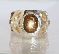 Black Star Sapphire Green Sapphire Citrine Handmade Silver Ring #1506 Size 12.5 - £162.57 GBP