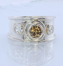 Natural Golden Yellow and White Zircon Handmade 925 Silver Ring #1511 Size 8.75 - £72.34 GBP