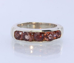 Natural Orange Red Zircon Handmade Sterling Silver Ring #1508 Size 6.5 - $102.60