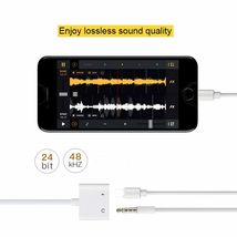 iPhone 7 Adapter 3.5mm Aux Jack Headphone Earphones Audio Splitter White Cable image 6