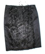 New NWT $498 Womens Black Silk Fringe Skirt Worth NY 8 York Metallic Silver - $199.20