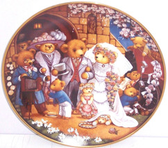 Teddy Bear Wedding Plate Franklin Mint Bride Groom Collector Retired Vin... - $59.95