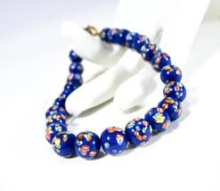 Vintage Milifiori Beaded Bracelet, Venetian, 1980s, Royal Blue Beads, 8m... - $17.50