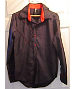 Boys Size L Gamiss Black Shirt with Red Accents Diamond accents sewn in - $9.95