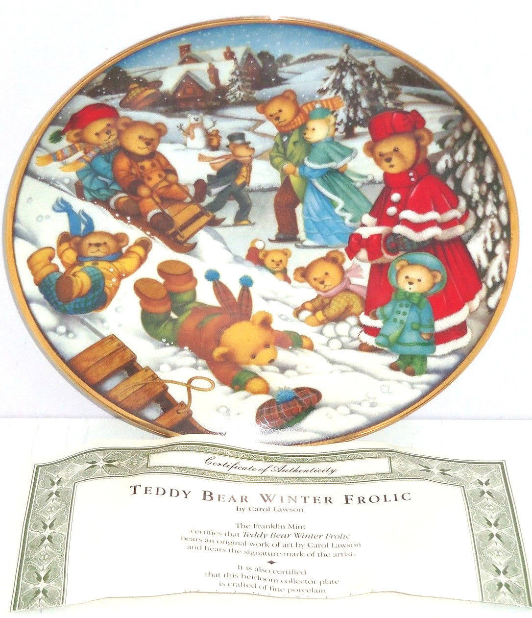 Teddy Bear Winter Frolic Snow Playing Collector Plate Franklin Mint  - $59.95
