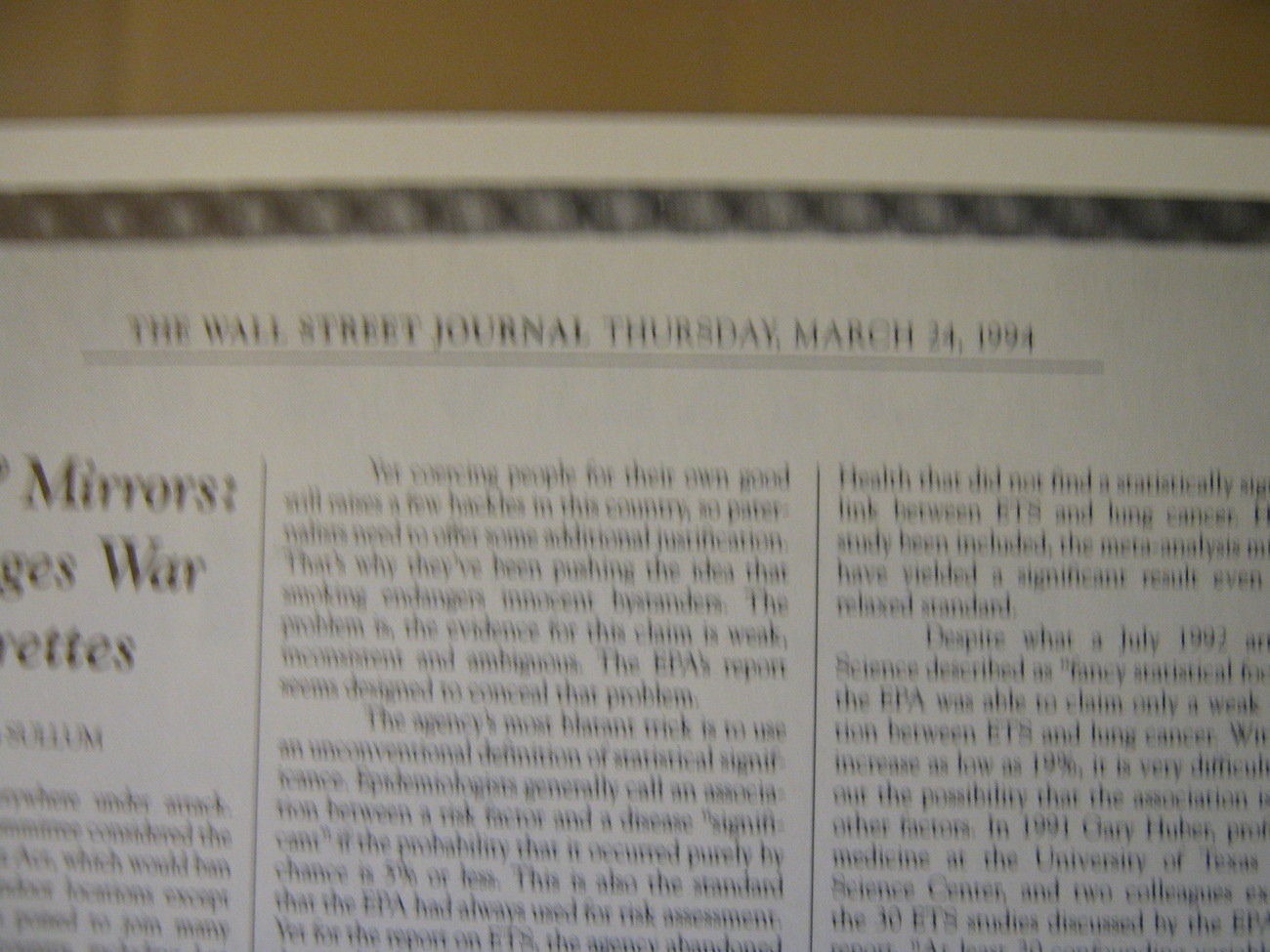 JOE CAMEL Cigarette ,  Insider Magazine , 1993  , Wall Street Journal Article  3