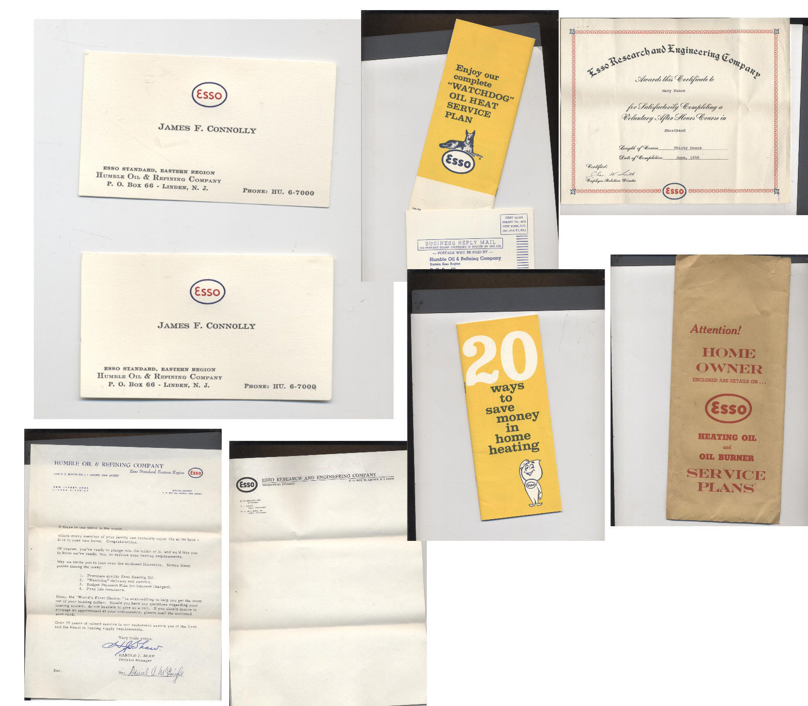 Esso business card 1 listing lot of vintage esso paperwork linden nj business cards certificate more 3499 reheart Choice Image