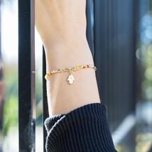 23497 alt double strand 14 karat gold plated multistone bracelet with hamsa charm thumb200
