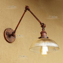 Vintage Swing Arm Spriral Ribbed Glass Sconce Double Wall Lamp E27 Light Lightin - $115.93