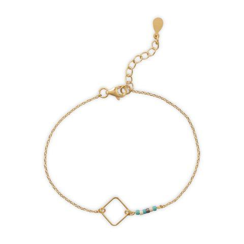 Gold Chain Bracelet with Square Link and Glass Seed Beads