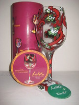 Lolita Kiss Me Wine Glass Retired Rare Christma... - $34.58