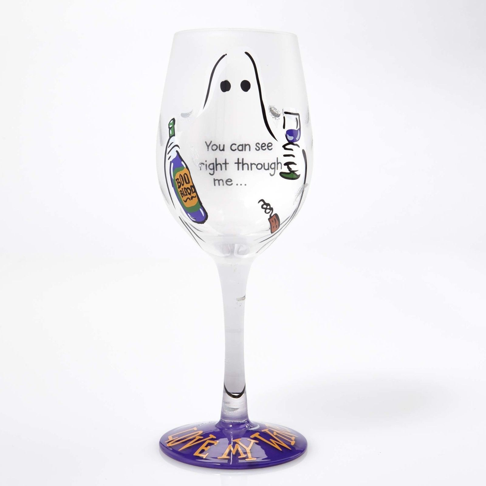 Lolita You Can See Right Through Me Wine Glass  Halloween Ghost Party Boo New