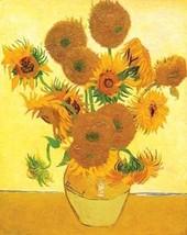 VAN GOGH ART Vase with 15 Sunflowers 32x24 Prin... - $13.95