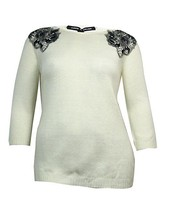 Cable & Gauge Sweater with Embel Shoulders, Creamy, Sz. Small - $34.65