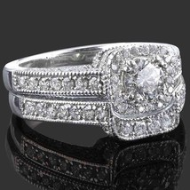 1.37 TCW Round Cut Diamond Engagement Ring Wedding Band Set 14K White Gold - £8,401.57 GBP