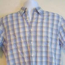 Michael Kors Blue Yellow White Checker Plaid Short Sleeve Button Front S... - €17,13 EUR