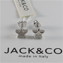 925 RHODIUM SILVER JACK&CO EARRINGS WITH STAR AND CUBIC ZIRCONIA MADE IN ITALY
