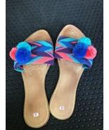 wayuu sandals Pom Flat Shoes Handmade Summer Slippers Size 41 Pastel - $35.00