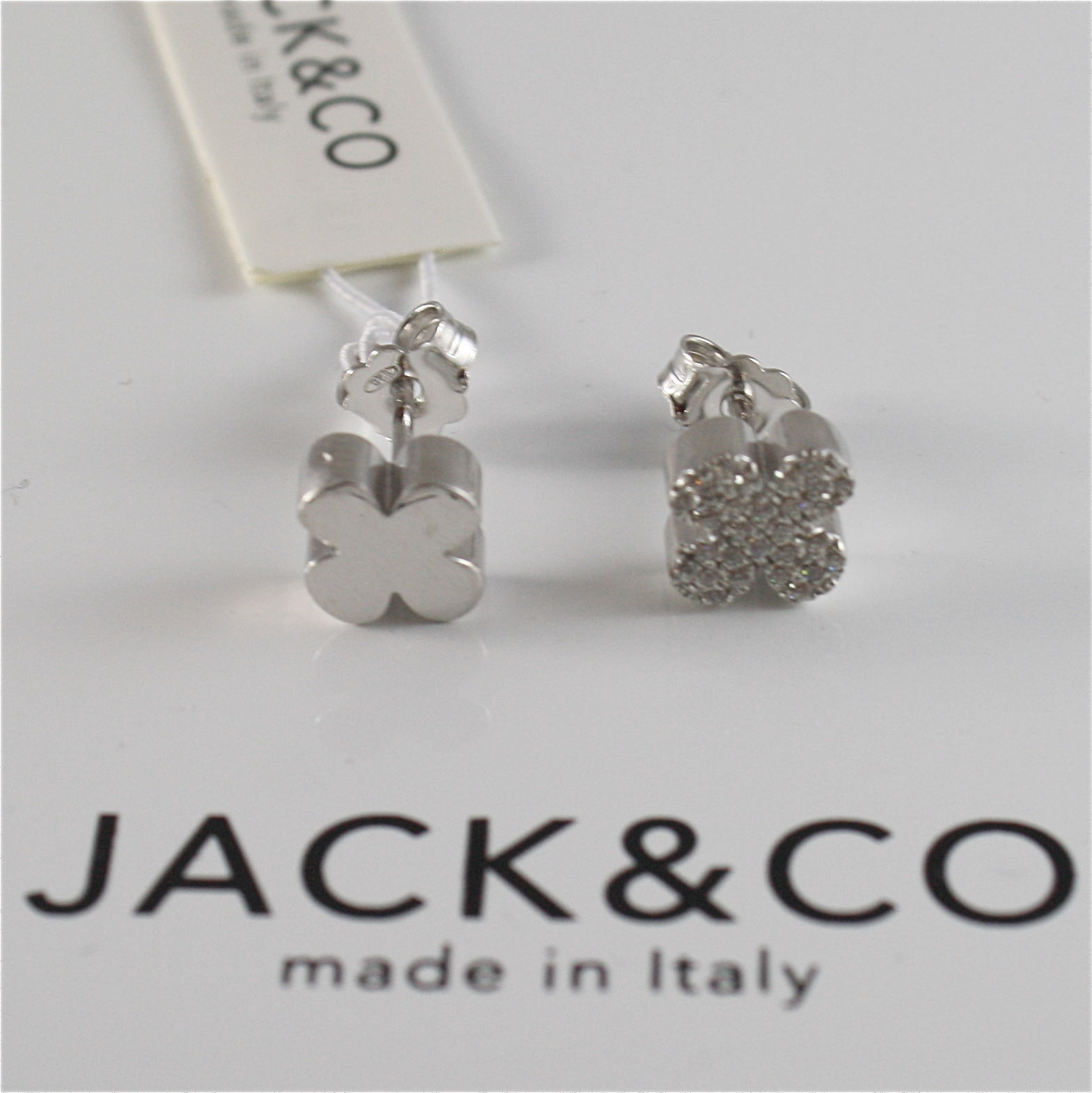 925 RHODIUM SILVER JACK&CO EARRINGS WITH FOUR LEAF CLOVER LUSTER MADE IN ITALY