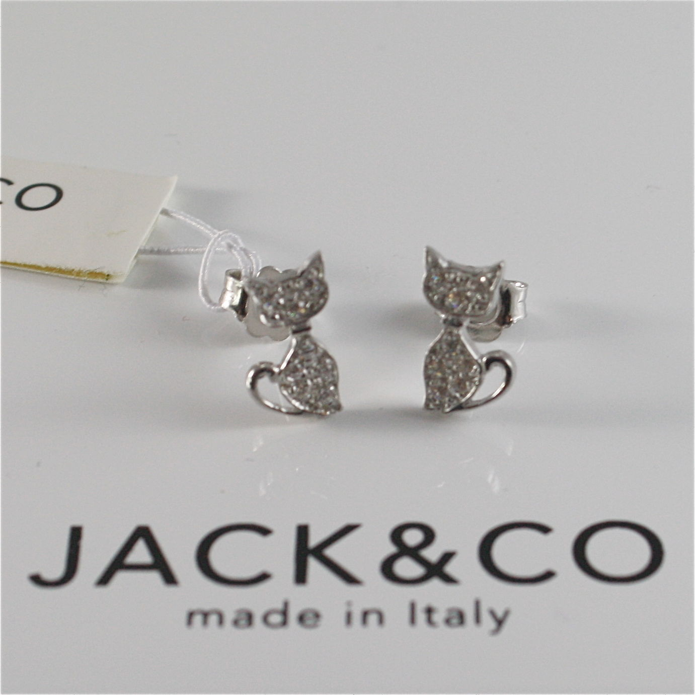 925 RHODIUM SILVER JACK&CO EARRINGS WITH KITTY CAT CUBIC ZIRCONIA MADE IN ITALY