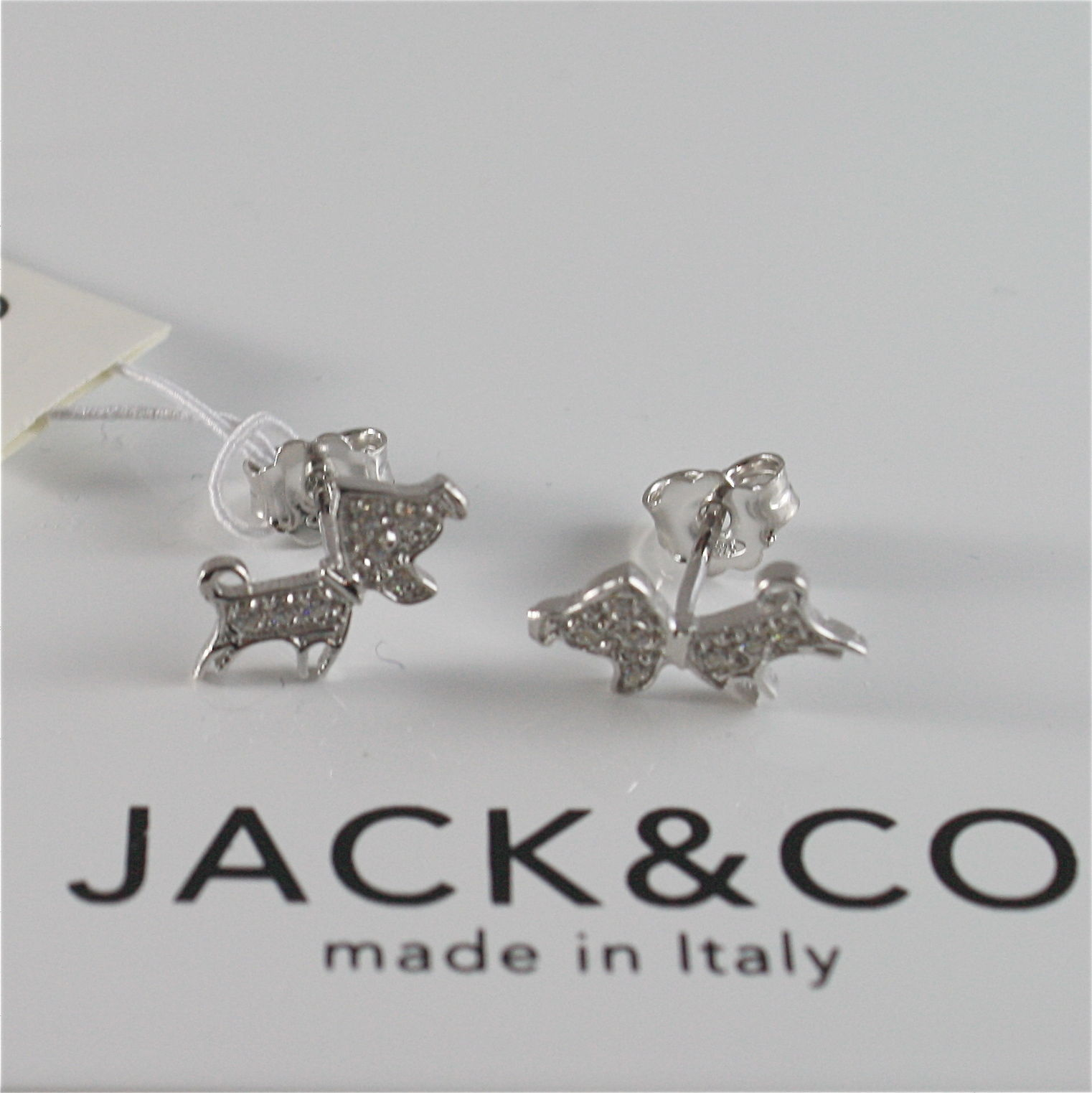 925 RHODIUM SILVER JACK&CO EARRINGS WITH PUPPY DOG JACK RUSSEL MADE IN ITALY