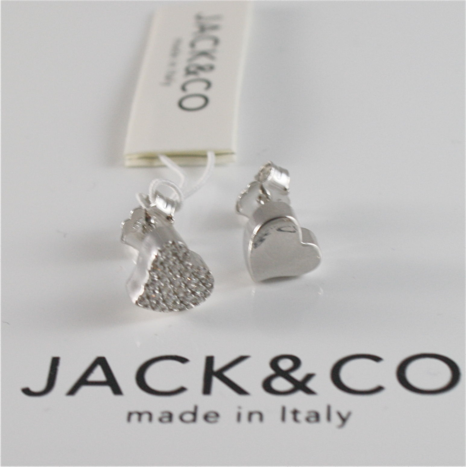 925 RHODIUM SILVER JACK&CO EARRINGS WITH HEART WITH CUBIC ZIRCONIA MADE IN ITALY
