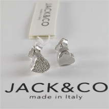 925 RHODIUM SILVER JACK&CO EARRINGS WITH HEART WITH CUBIC ZIRCONIA MADE IN ITALY image 1